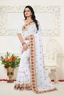 Picture of Serene white designer saree with motifs