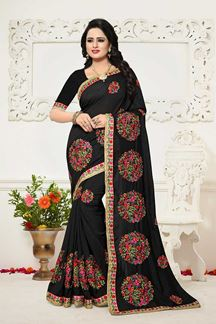 Picture of Classic black designer georgette saree