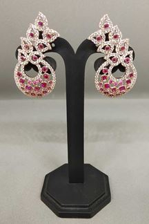 Picture of Classy pink stone worked heavy earrings