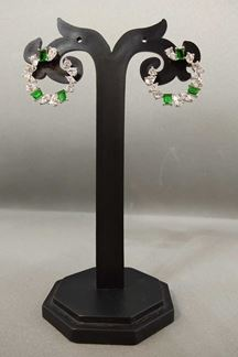 Picture of Green stone worked designer earrings