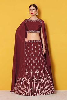 Picture of Glorious maroon designer lehenga choli