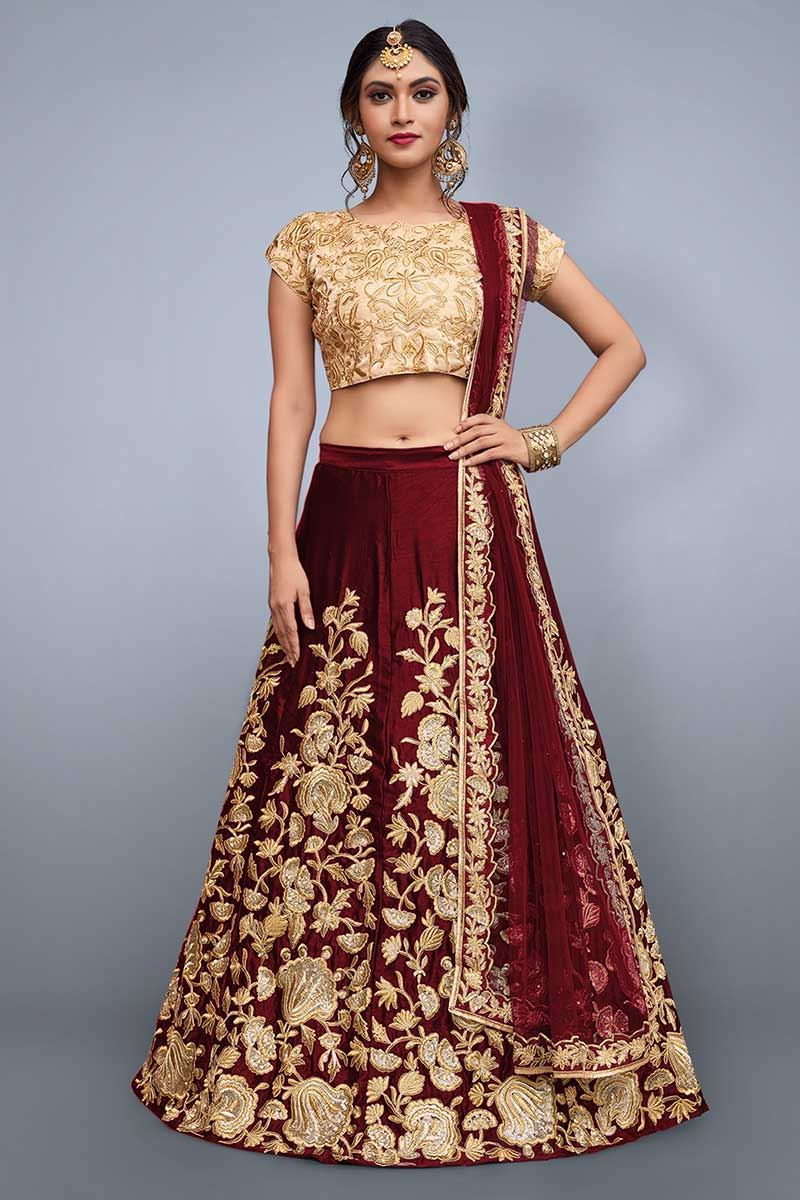 848a72e9804 Picture of Startling gold   deep red lehenga choli