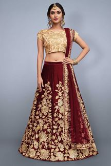 Picture of Startling gold & deep red lehenga choli