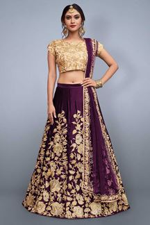 Picture of Soulful gold & violet designer lehenga set
