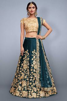Picture of Flattering gold & rama blue lehenga choli