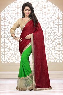 Picture of Stunning maroon & green half & half saree