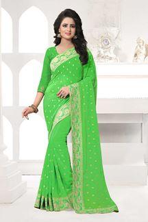 Picture of Sensational light green designer saree