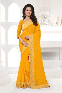 Picture of Lavish yellow designer saree with motifs