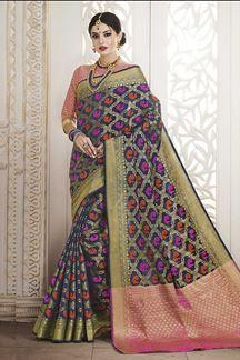Picture of Fabulous dark blue designer saree