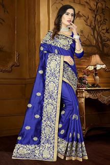 Picture of Edgy blue designer saree with zari work