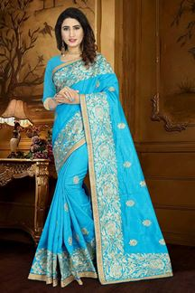 Picture of Lavish light blue designer saree with zari