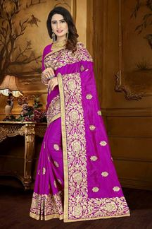 Picture of Atypical magenta colored designer saree
