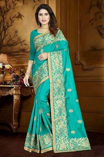 Picture of Transitional green designer saree