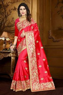Picture of Glossy red designer saree with motifs