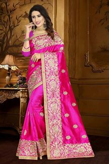 Picture of Classic pink designer saree with motifs