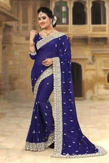 Picture of Classy dark blue designer saree with zari