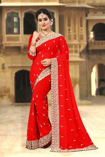 Picture of Striking red designer saree with motifs