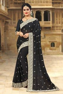 Picture of Dignified black designer saree with zari