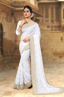 Picture of Pristine white designer saree with pearls