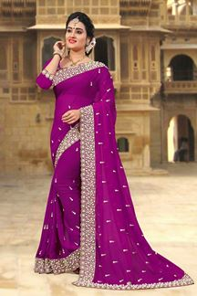 Picture of Fabulous violet designer saree with zari