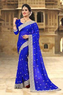 Picture of Appealing royal blue designer saree