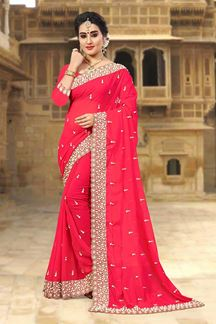 Picture of Magical peach designer saree with pearls