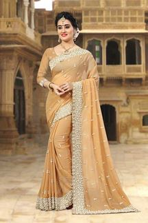 Picture of Gorgeous beige designer saree with pearl