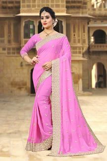 Picture of Outstanding pink designer plain saree