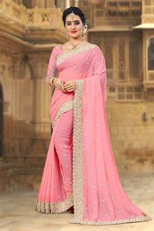 Picture of Fashionable Peach designer saree with zari