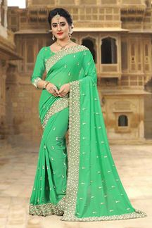 Picture of Stylish green designer saree with pearls