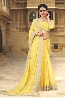 Picture of Divine yellow designer saree with pearls