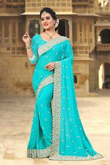 Picture of Ravishing blue designer saree with pearls