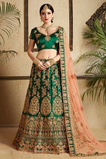 Picture of Traditional green designer heavy lehenga