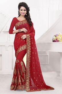 Picture of Stunning red georgette saree with zari