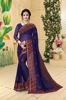 Picture of Rich navy blue sheer saree with resham