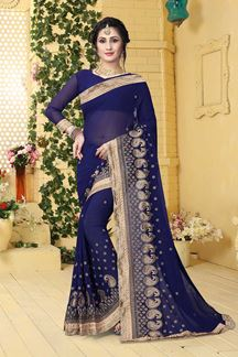 Picture of Luxurious deep blue designer plain saree
