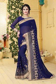 Picture of Luxurious deep blue designer plain saree