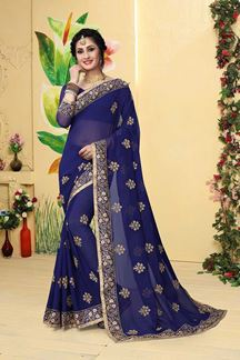 Picture of Graceful dark blue designer plain saree