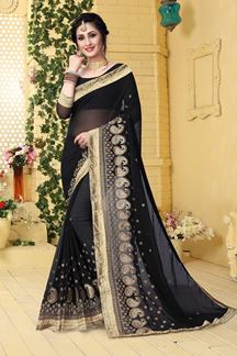 Picture of Polished black designer saree with zari