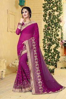 Picture of Distinctive deep pink designer saree