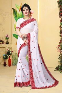 Picture of Stylish white saree with red detailing