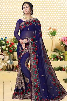 Picture of Outstanding blue saree with embroidery