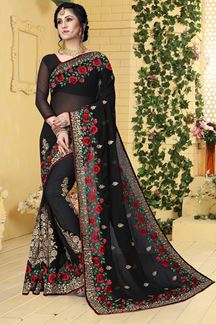 Picture of Classy black designer saree with resham