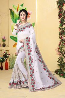 Picture of Angelic white designer saree with work