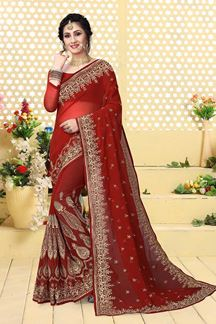 Picture of Lovely red designer saree with work