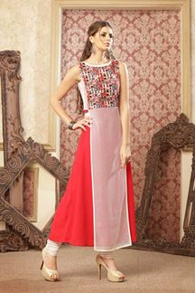 Picture of Lovely white & red designer sheer kurti