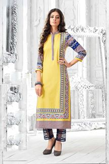 Picture of Arresting light yellow designer kurti