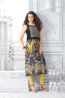 Picture of Modish black & yellow designer kurti