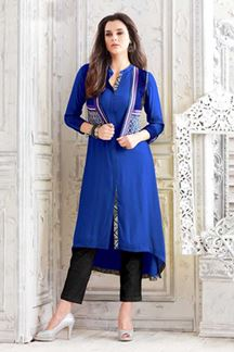 Picture of Lovely royal blue designer plain kurti