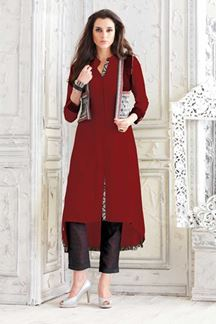 Picture of Soulful maroon designer plain kurti